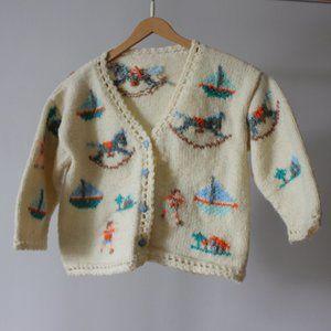 Vintage Handmade Knit Kid Cardigan